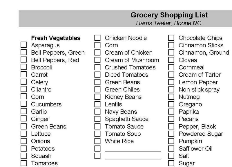 Grocery Shopping List - sm version